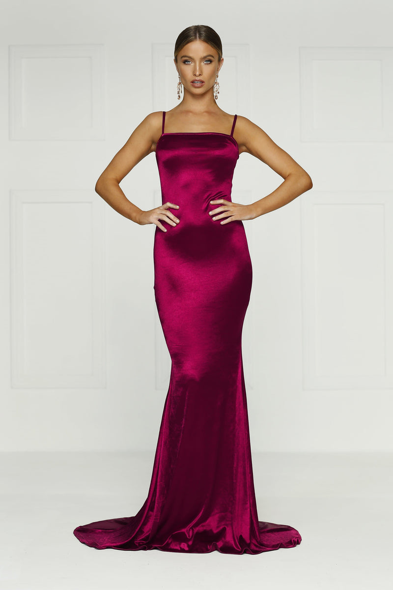 Lesiya - Burgundy Satin Gown with Square Neckline & Mermaid Train