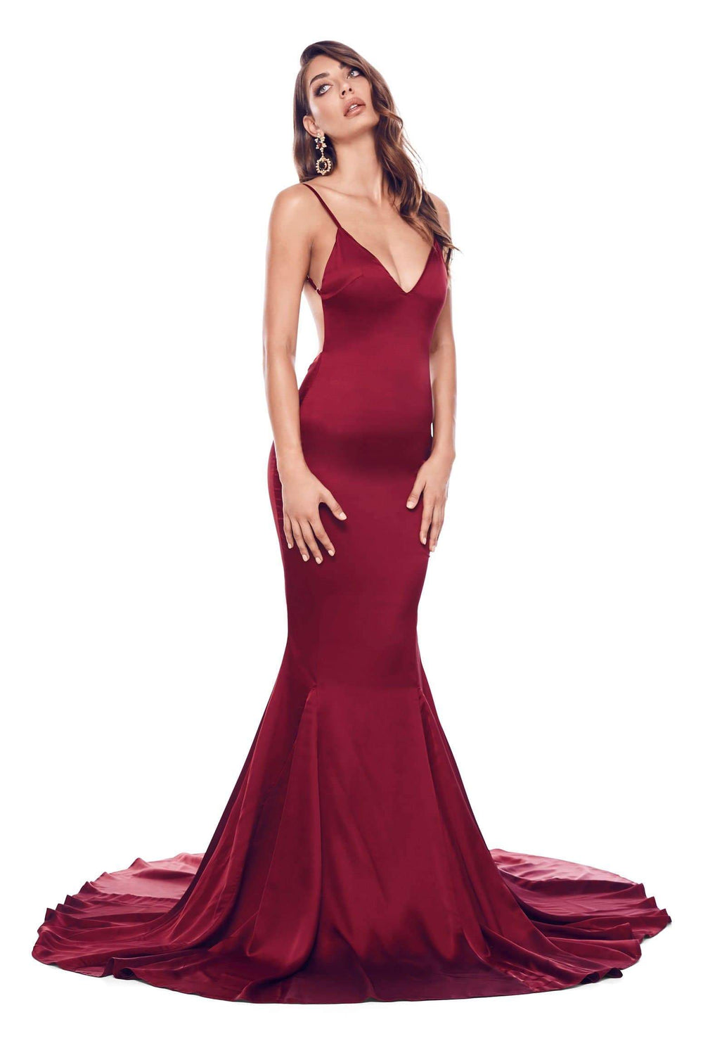 Tamara - Burgundy Satin Gown with V-Neck, Low Back & Mermaid Train