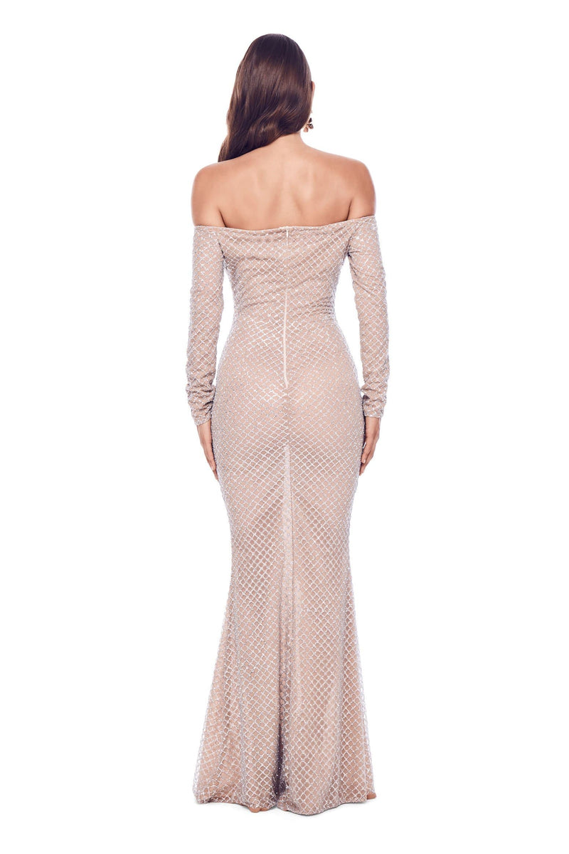 Vera - Silver Glitter Gown with Long Off-Shoulder Sleeves
