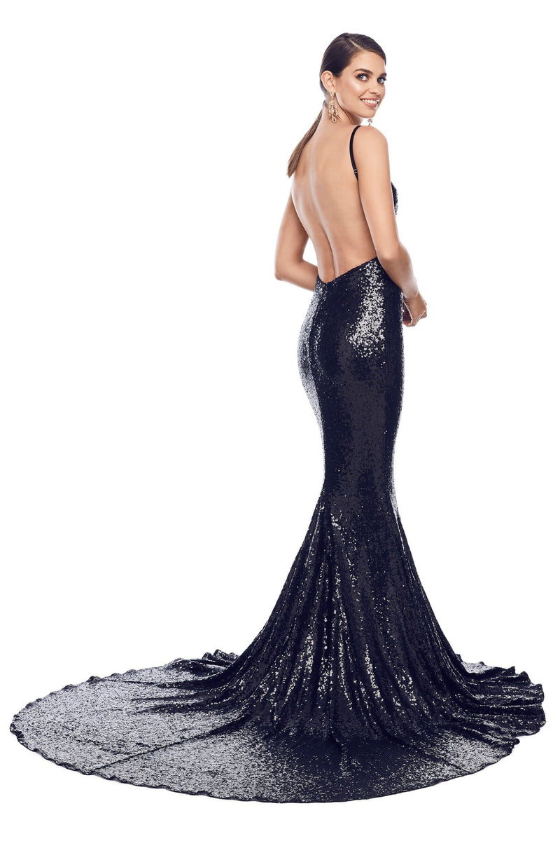 00cef0601c840 Yassmine Luxe - Black Sequin Gown with Mermaid Tail   Open Back