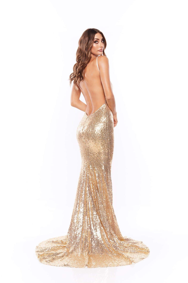Yassmine Mermaid Gown - Gold V Neck Dress with Spaghetti Straps