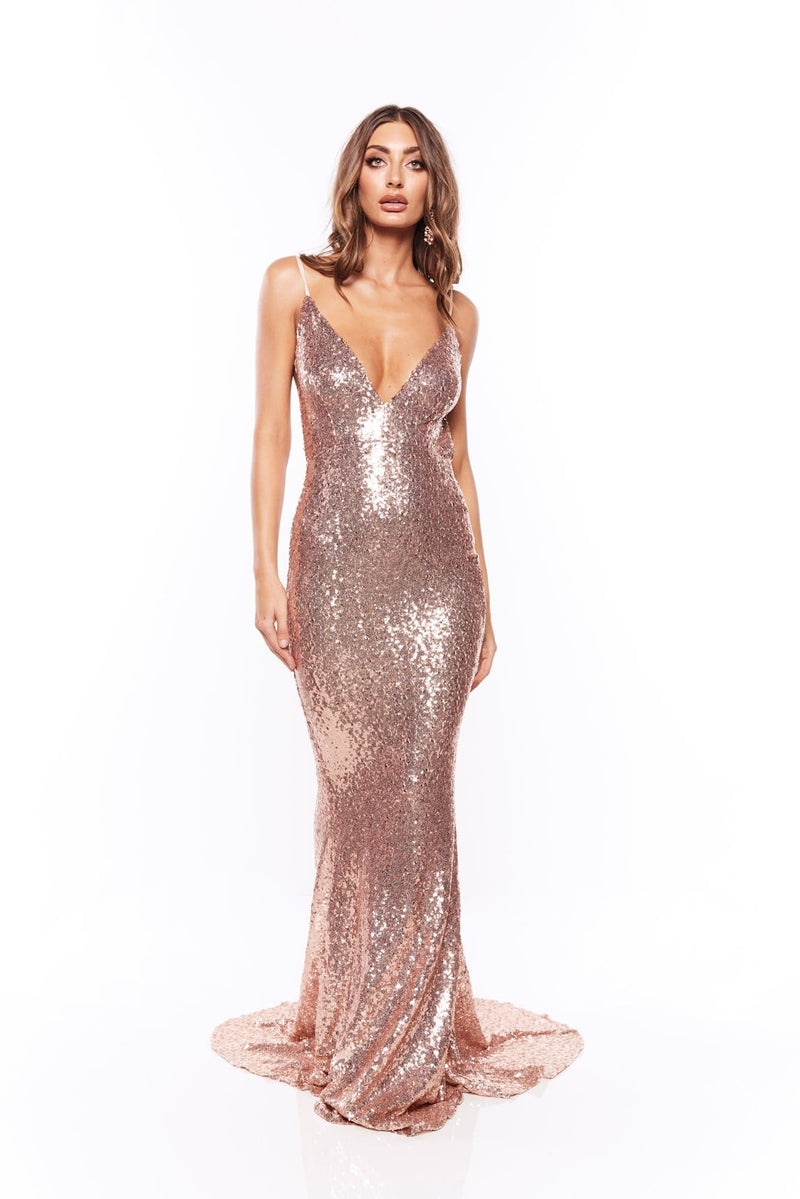 Yassmine - Rose Pink Backless Sequin Gown with V-Neck & Mermaid Train