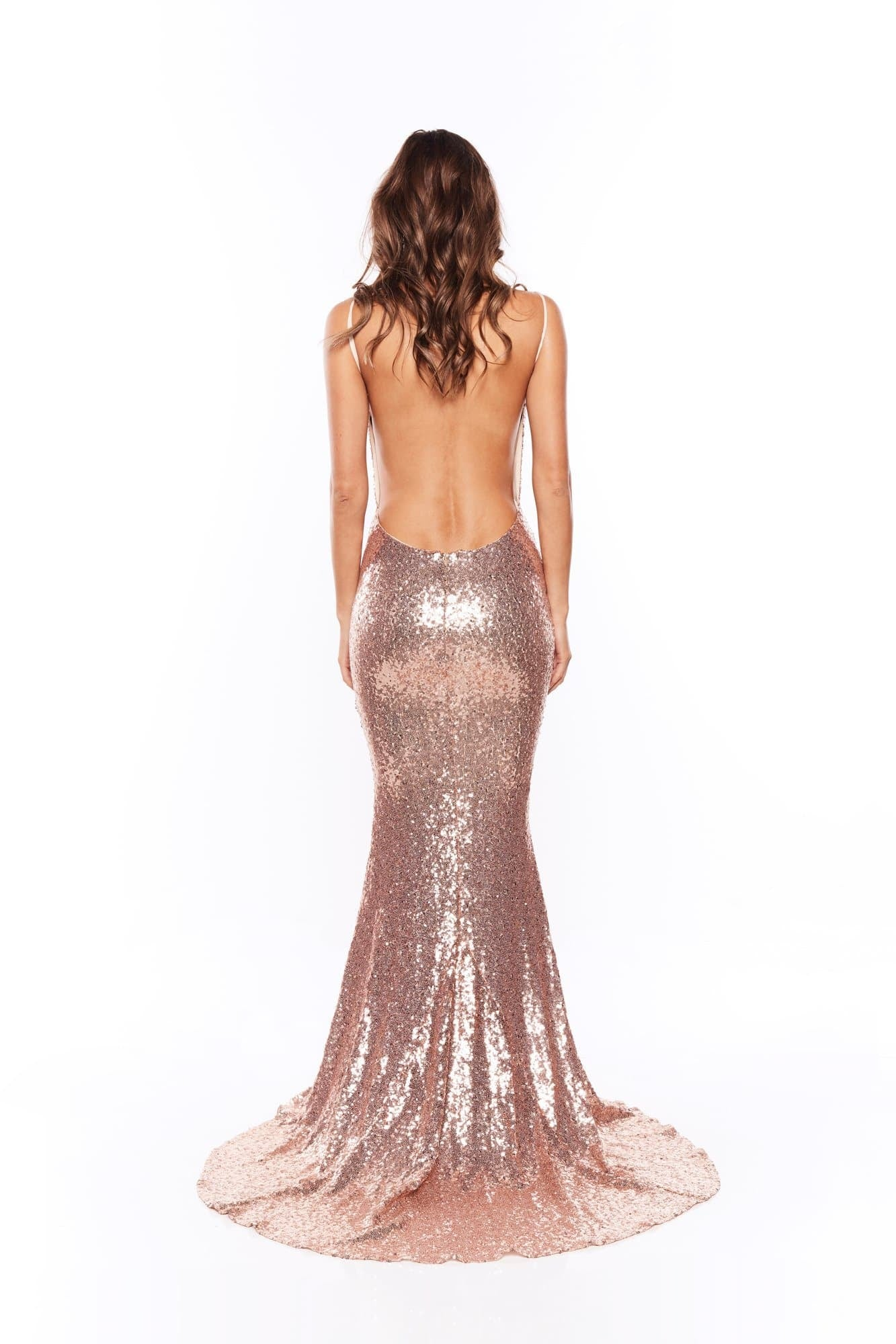 Yassmine Mermaid Gown - Rose Gold V Neck Backless Dress