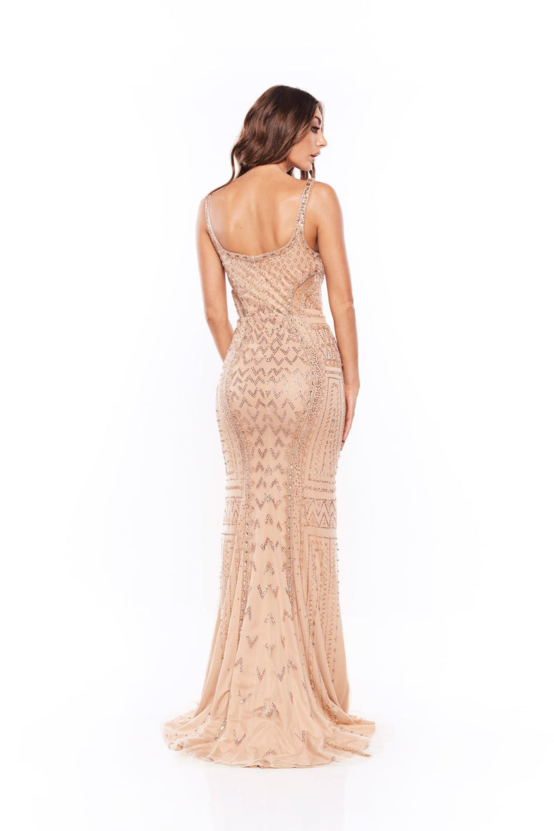 Yarah - Nude Shimmering Beaded Crystal Gown with V-Neckline