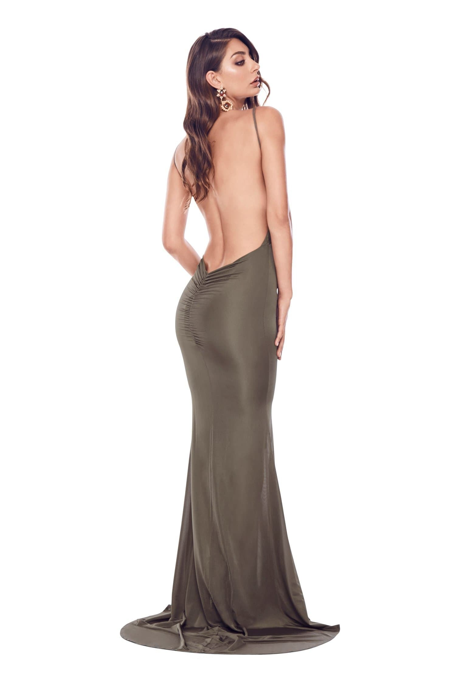 Selina - Olive Backless Jersey Plunge Neck Gown with Mermaid Train