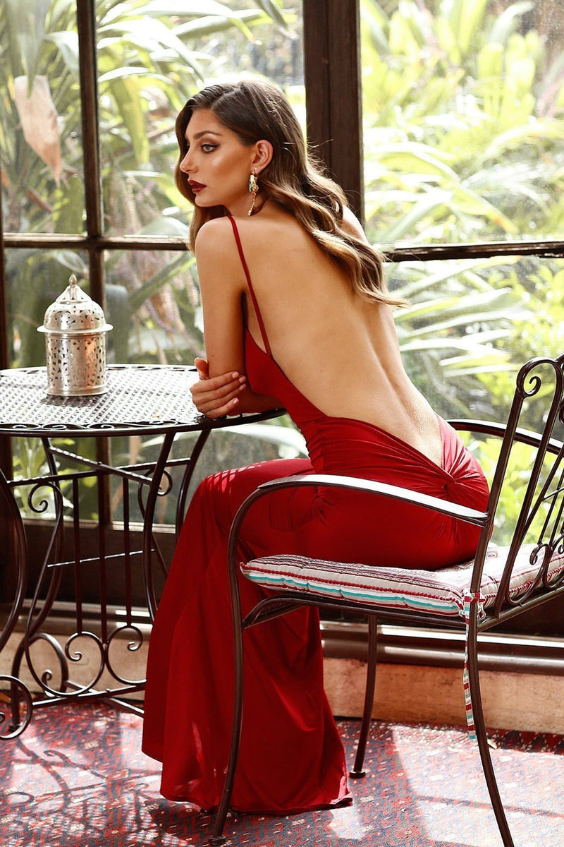 Penelope - Wine Red V Neck Dress with Backless & Back Knot Style