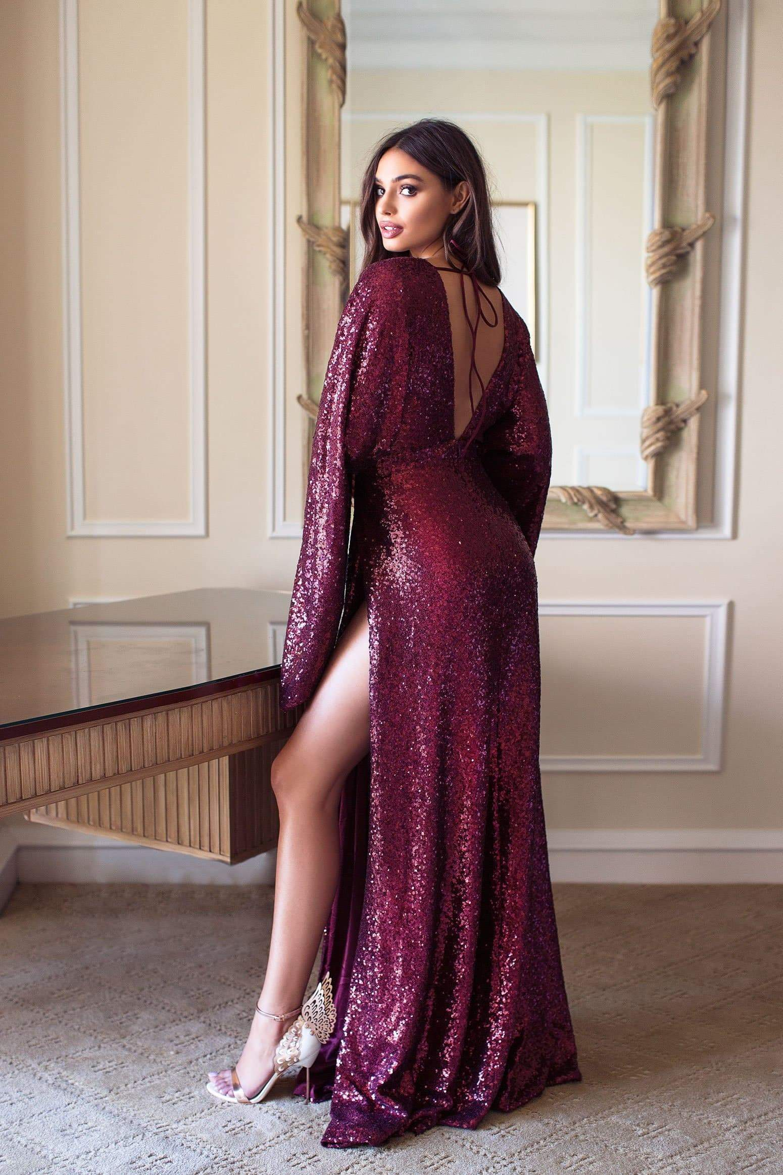 Jasmyne - Burgundy Sequin Gown with Kimono Sleeves & Side Slits