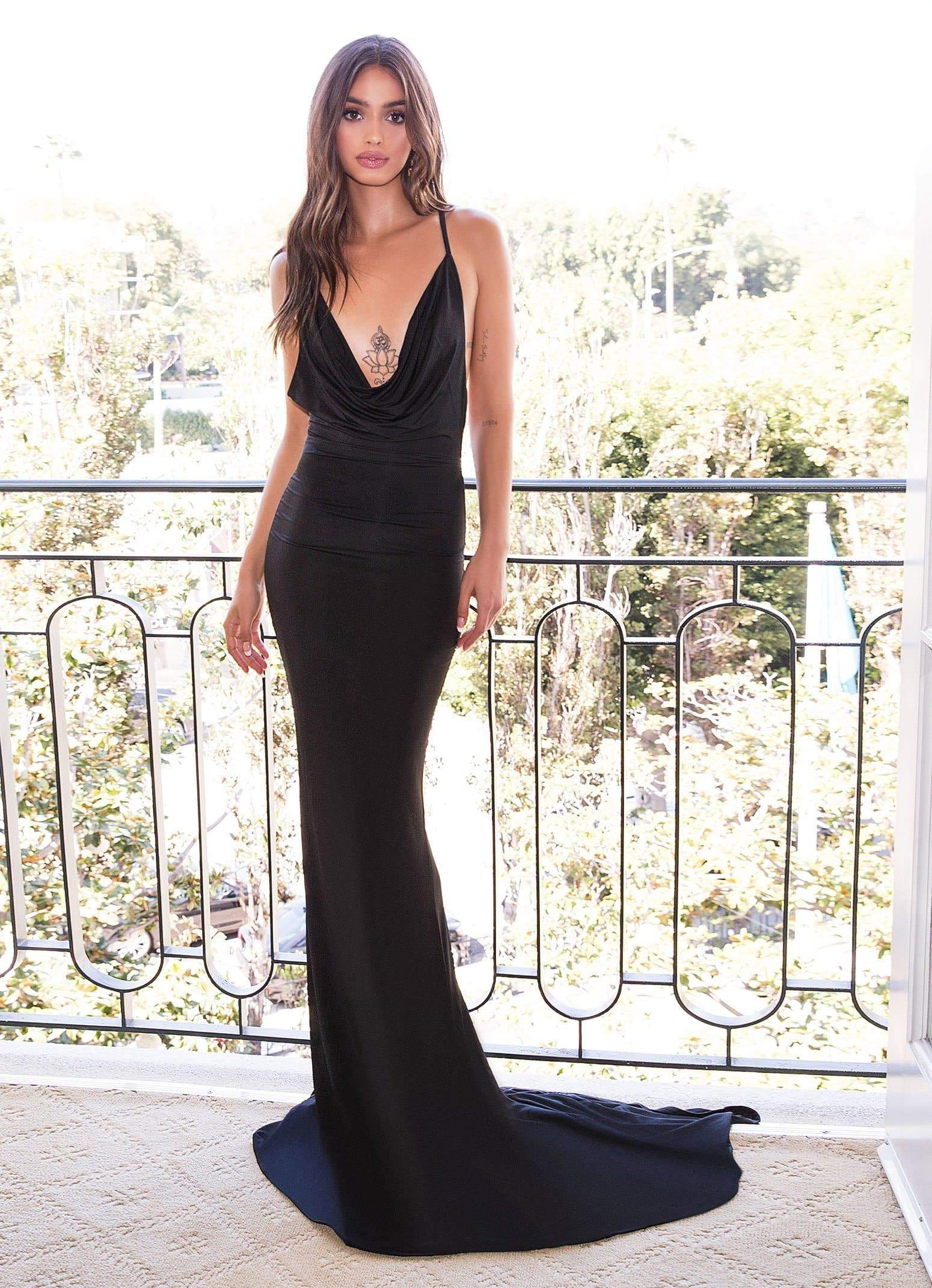Antonia - Black Jersey Cowl Open Back Criss Cross Mermaid Gown