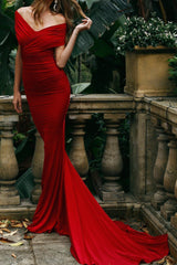 Campanule Off - Shoulder Gown - Wine Red Evening with Mermaid Train