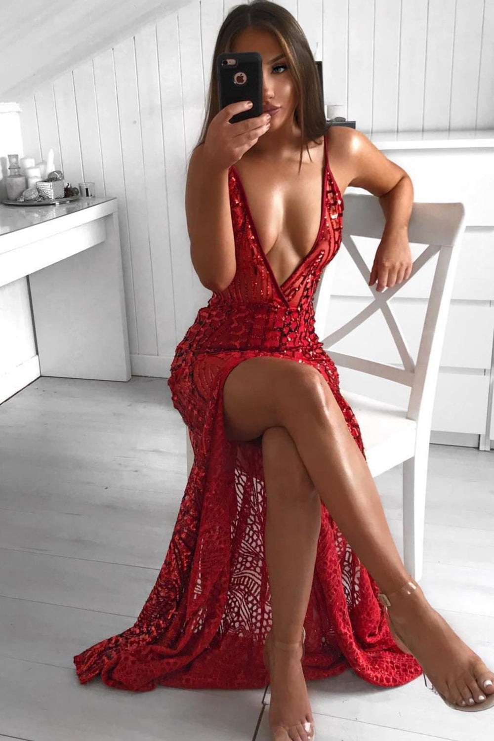 Cristal - Red Sheer Sequin Gown with Plunge Neckline & Low Back