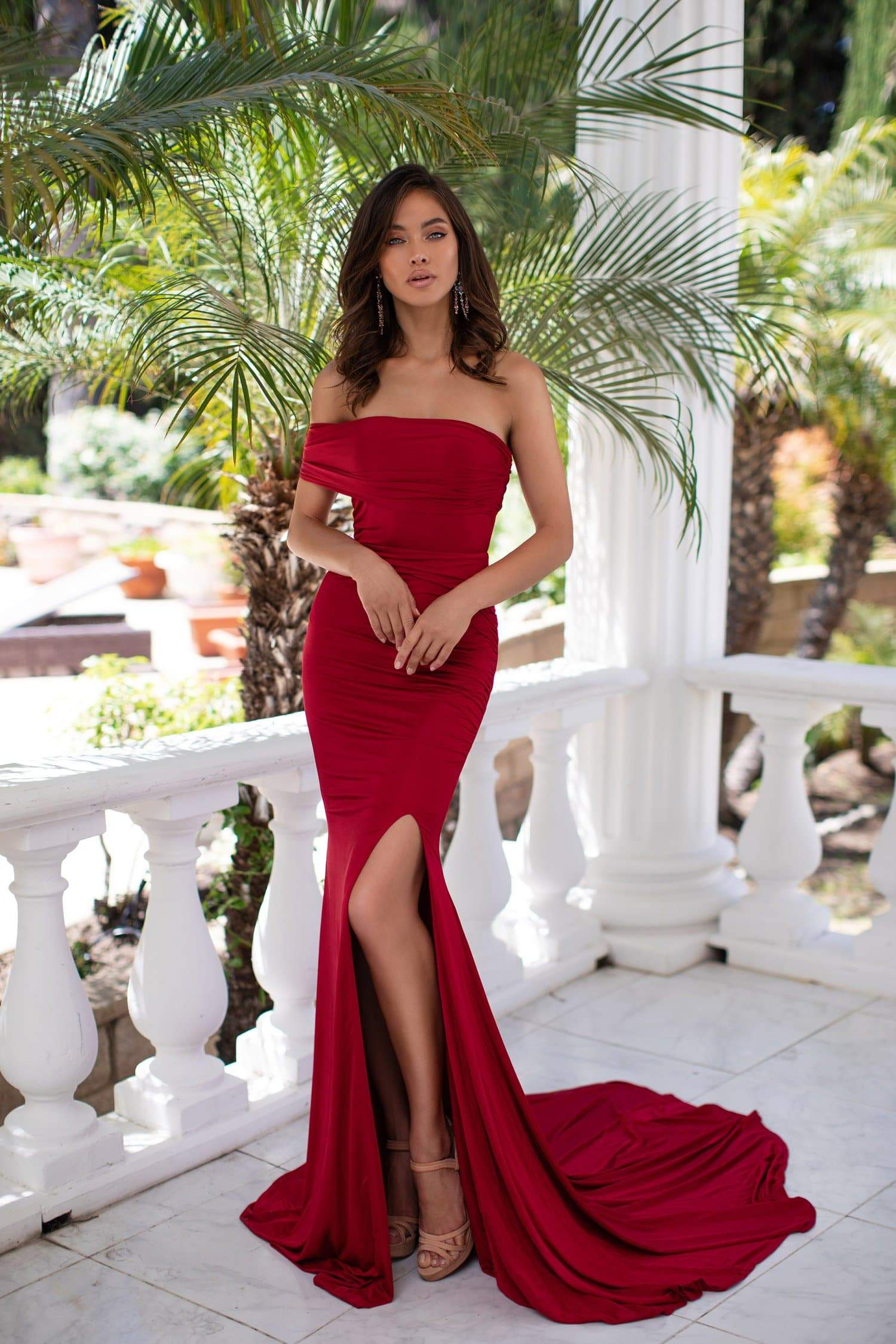 Estrella - Wine Red One-Shoulder Jersey Gown with Side Slit