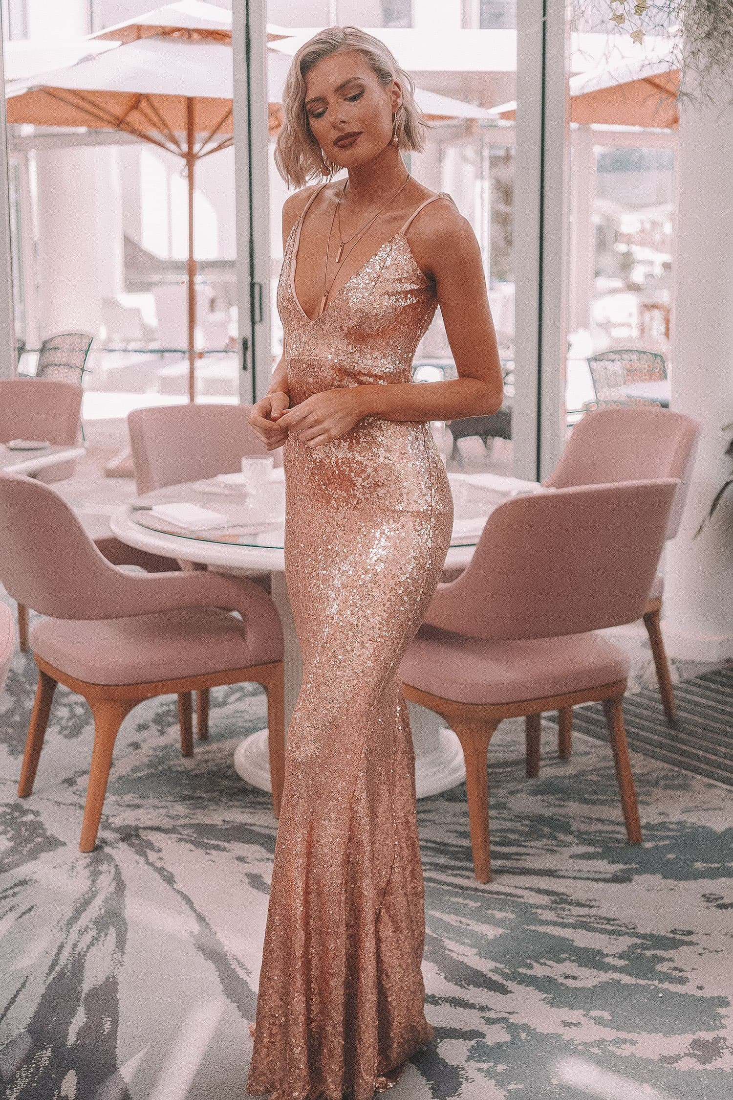 Farah - Sequin Gown with V-Neckline, Mermaid Train & Scoop Back