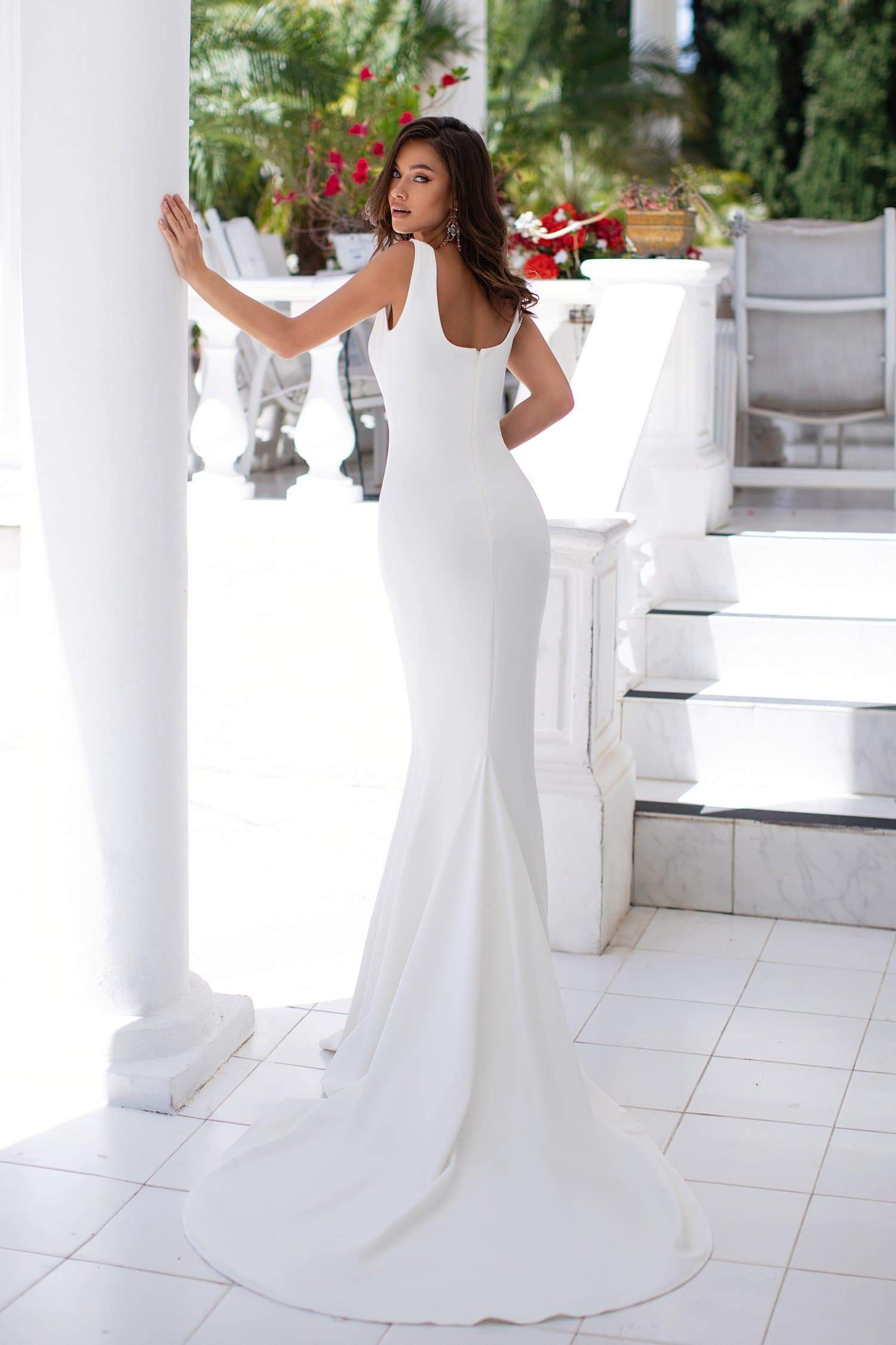 Fernanda - White Scoop Neck Gown with Side Slit & Mermaid Train
