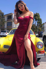 Florentina - Deep Red Satin Gown with Off-Shoulder Straps & Side Slit