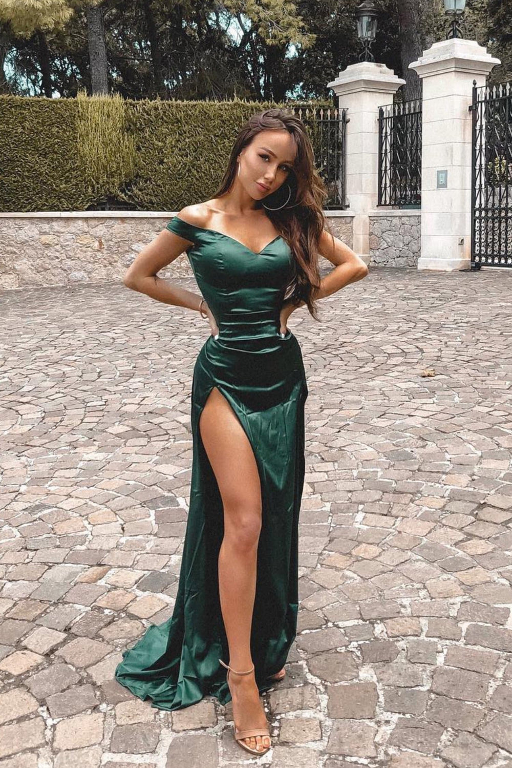 Florentina - Emerald Satin Off-Shoulder Gown with Two Thigh High Slits