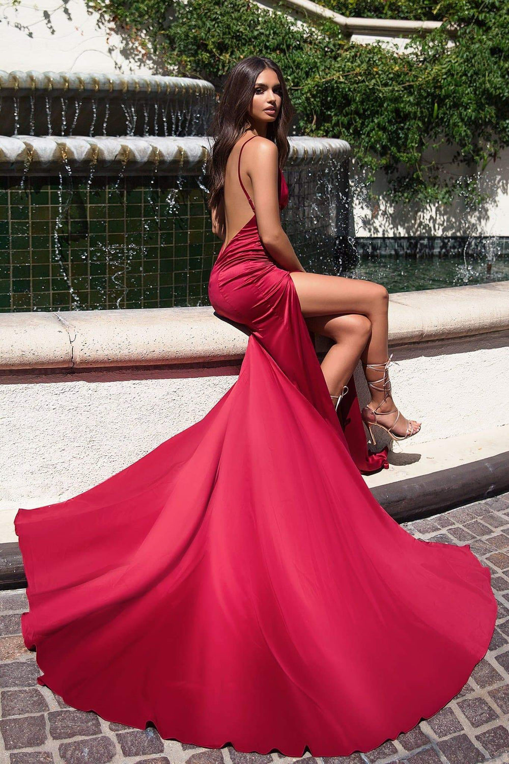 Izabelle - Deep Red Satin Gown with Deep Plunge Neckline & Side Slit