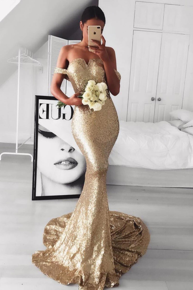 5841c62feec45 Jonquille - Gold Sequin Gown with Off-Shoulder Straps   Mermaid Train