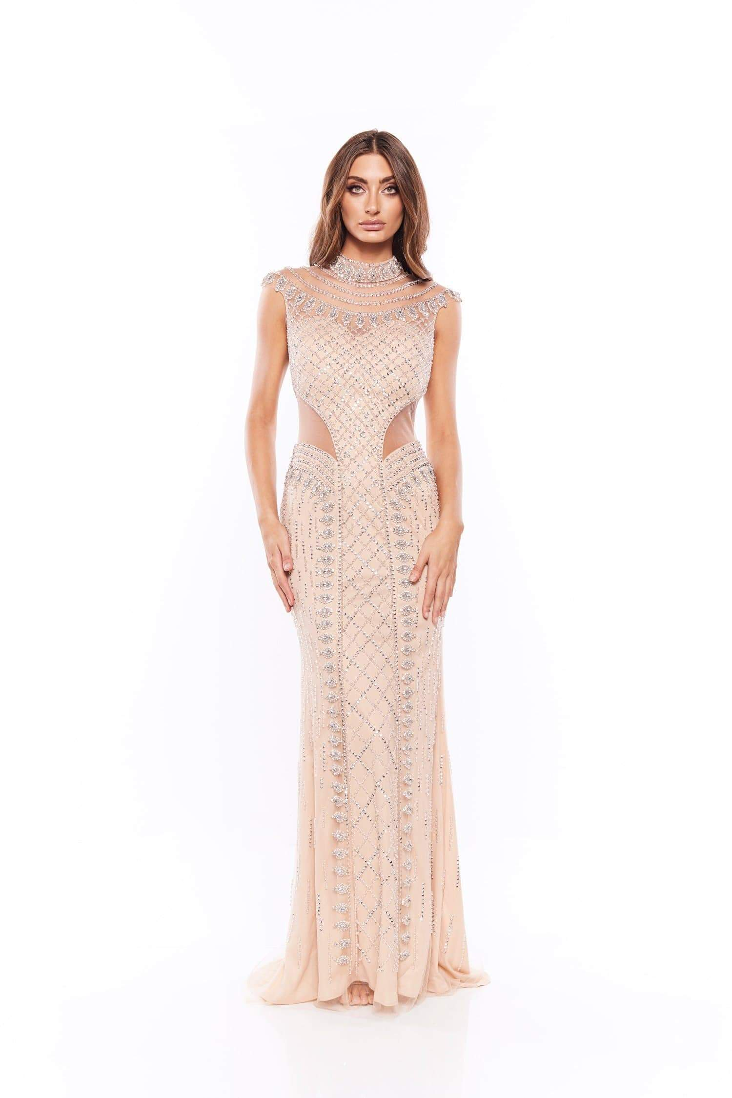 Katriane - Sleeveless Beaded Gown with High Neckline & Side Cut Outs