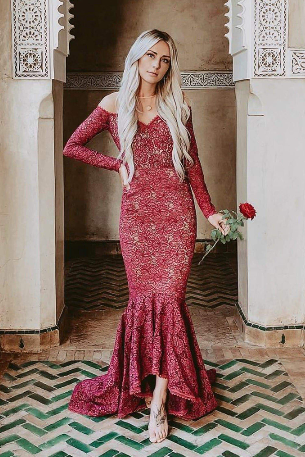 Margarita - Burgundy Off-Shoulder Long Sleeve Gown with Mermaid Train