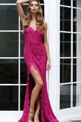 Layali - Hot Pink Lace Gown with V-Neckline, Open Back & Side Slit