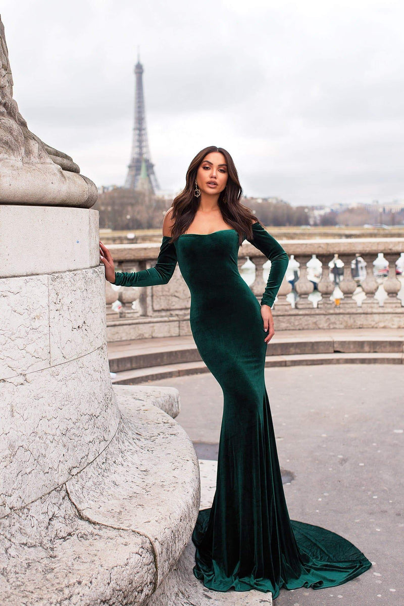 b6d25e12266 Cadencia - Emerald Velvet Gown with Long Off-Shoulder Sleeves
