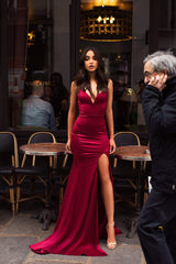 Mabelle - Deep Red Satin Gown with V-Neckline & Thigh High Slit