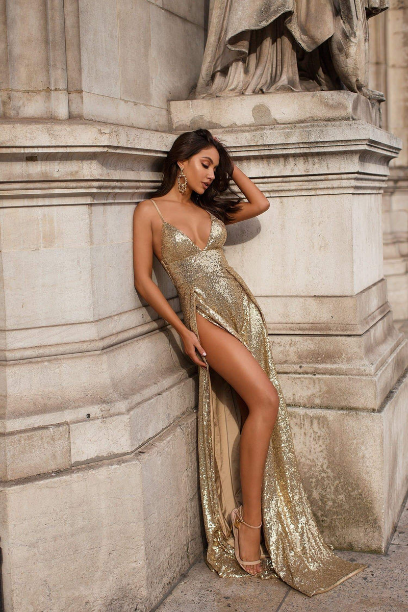 Milana - Gold Sequin V-Neck Gown with Adjustable Straps & Side Slits