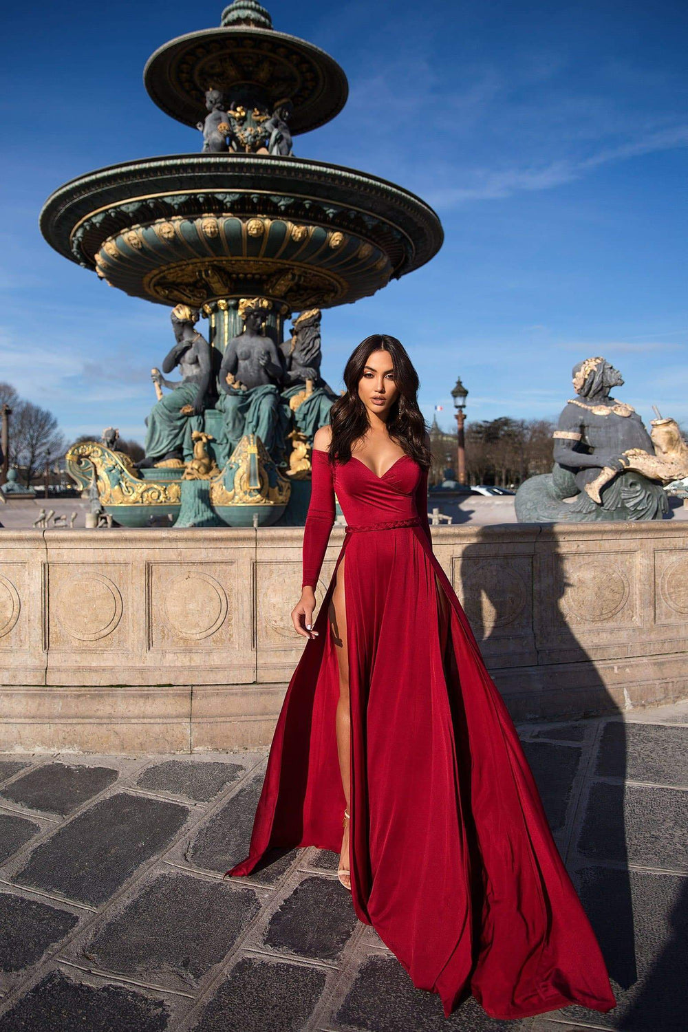 Parnella - Wine Red Jersey Gown with Long Off-Shoulder Sleeves