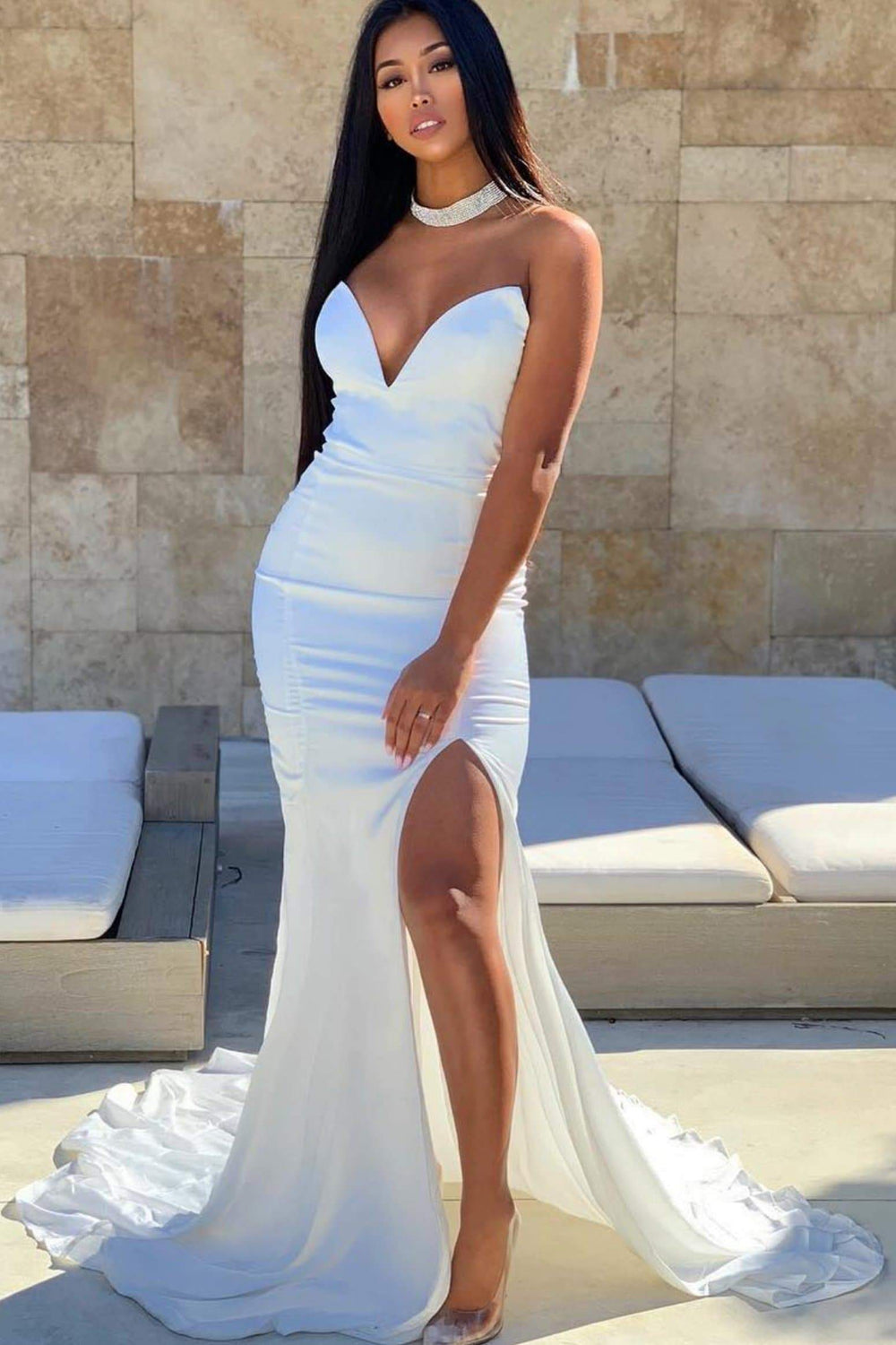 Mabelle - White Strapless Satin Gown with V-Neck & Side Slit