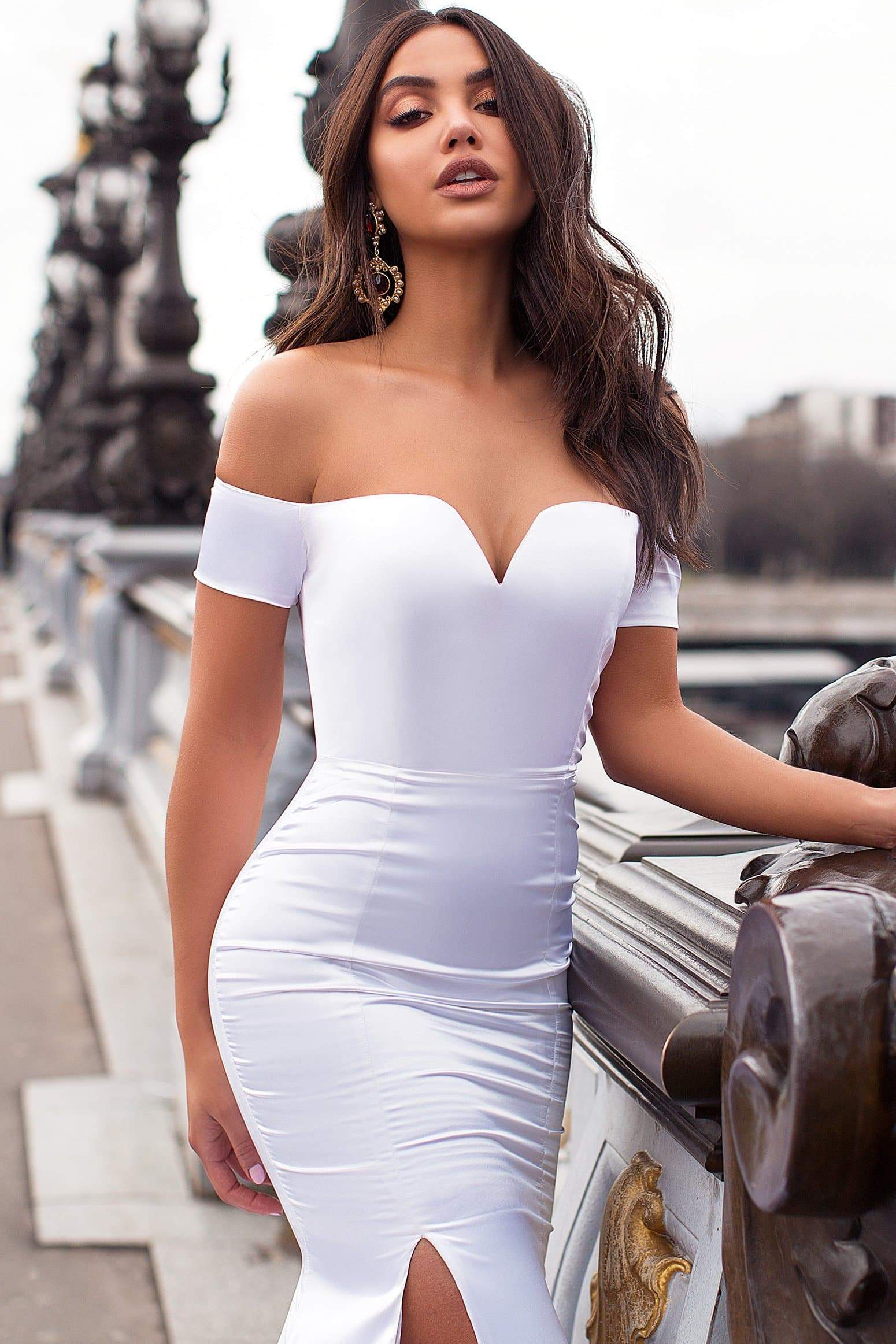1a44d0e2226 Madelina - White Off-Shoulder Satin Gown with Long Mermaid Train