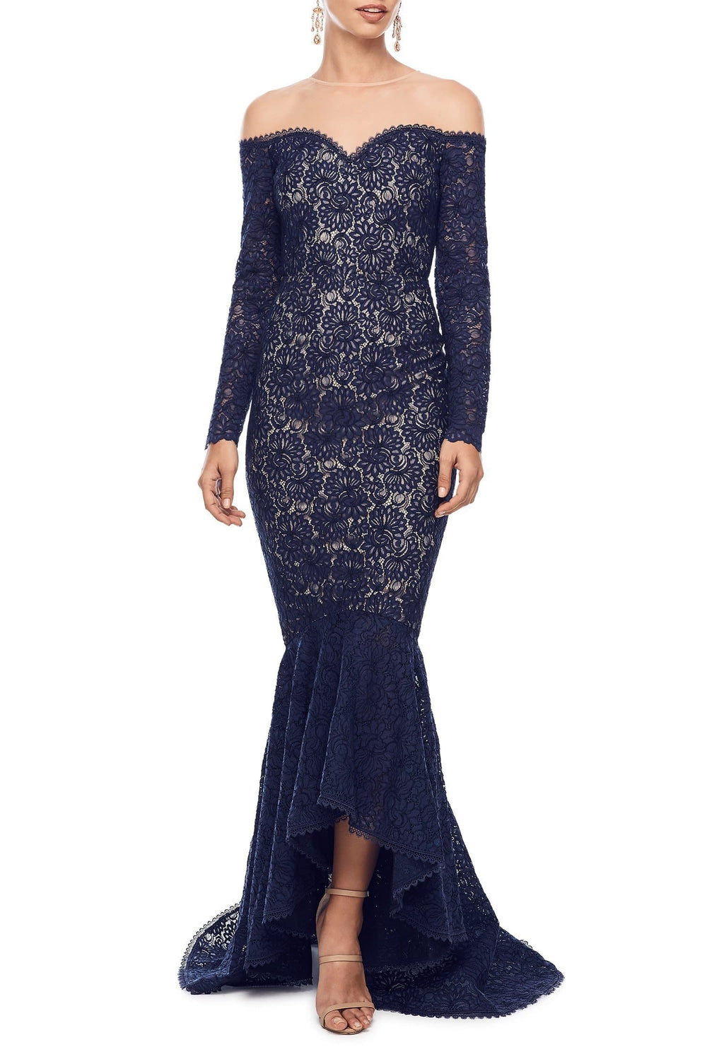b990c6eee400d3 Margarita - Navy Lace Off-Shoulder Ling Sleeve Gown with Mermaid Train