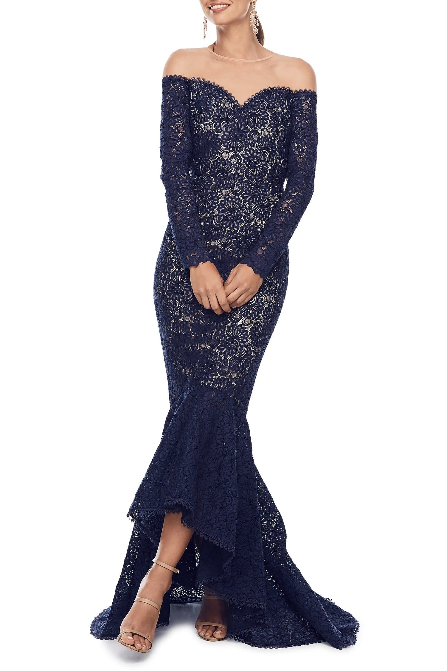 Margarita - Navy Lace Off-Shoulder Ling Sleeve Gown with Mermaid Train