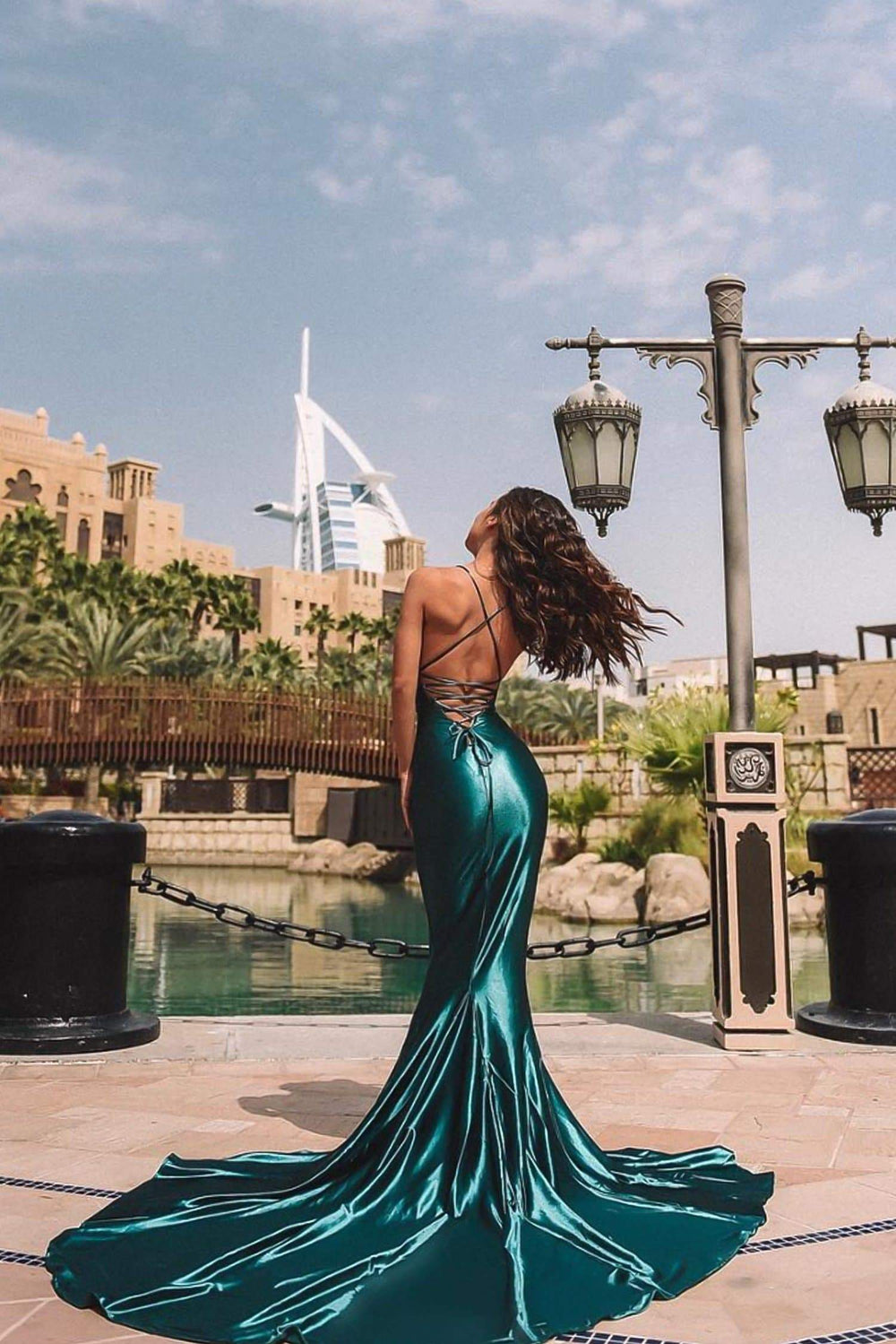 Pascala - Emerald Satin Gown with Plunge Neck & Lace Up Back