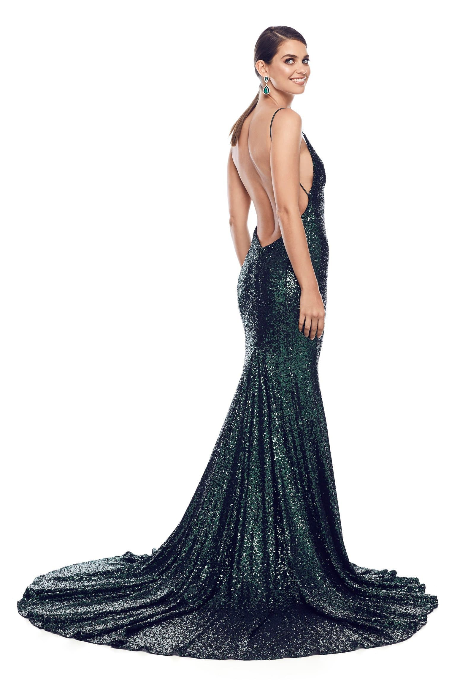 Armanah - Emerald Sequins Gown with Side Slit & Mermaid Tail