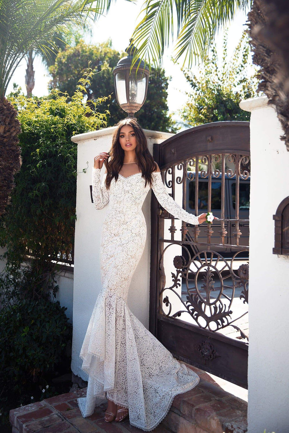 Margarita - Ivory Lace Gown with Long Off-Shoulder Sleeves