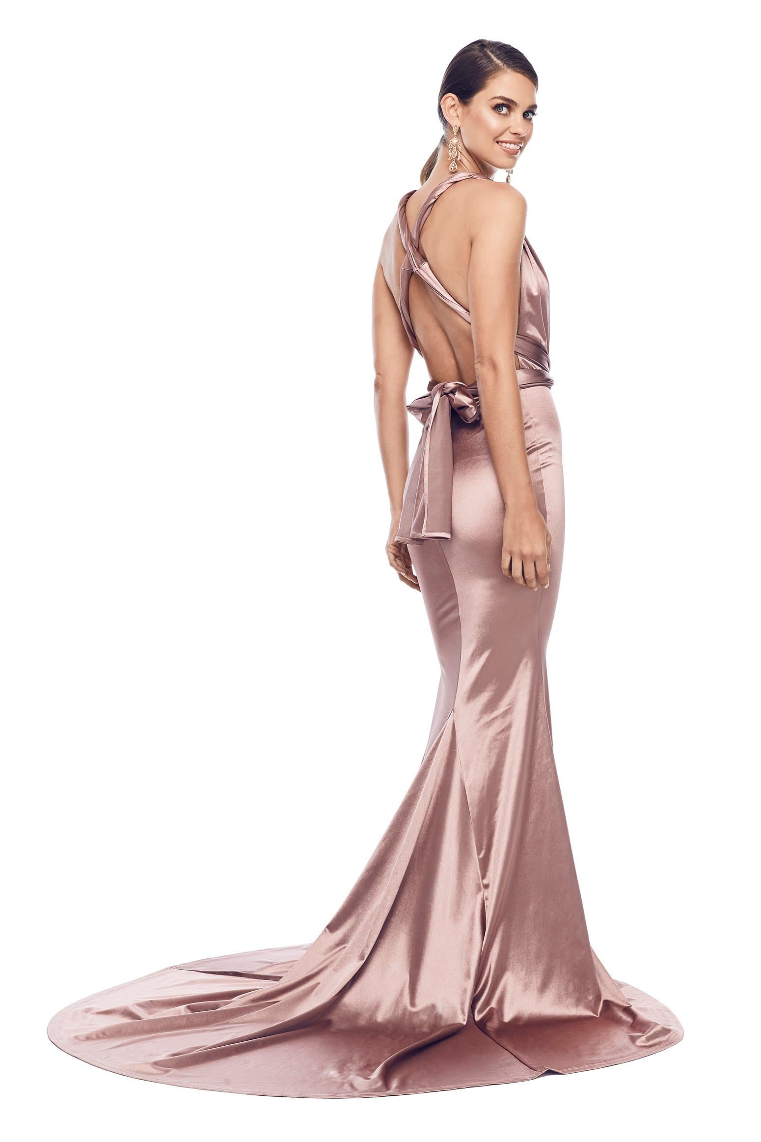 f919ed7d499e Lena - Rose Gold Satin Multiway Gown with Plunging Neckline   Low Back