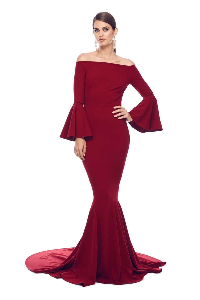 Amore - Wine Red Crepe Gown with Long Off-Shoulder Bell Sleeves