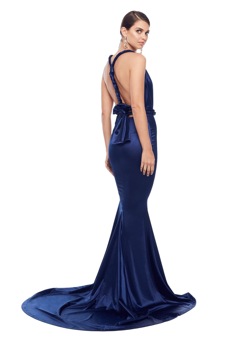 e40cd26a2ab Lena - Navy Satin Gown with Plunging Neckline and Long Mermaid Train