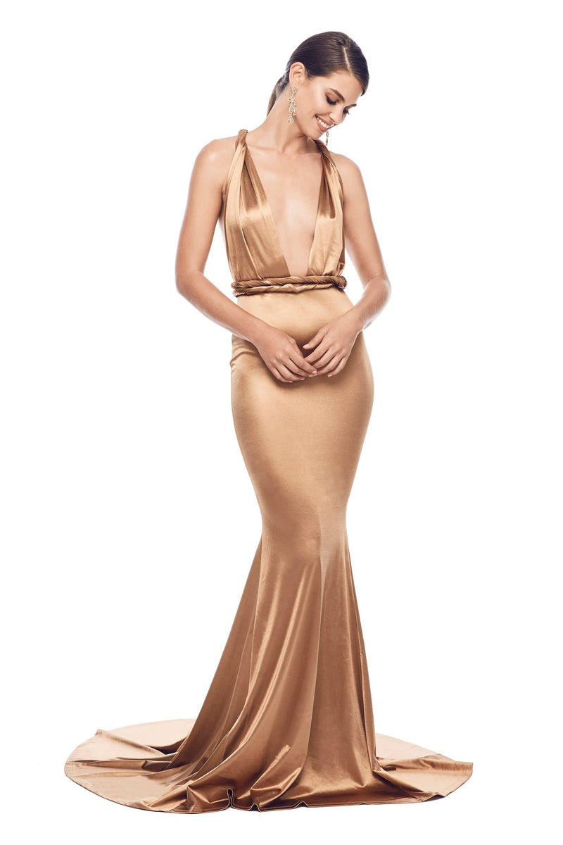 bd675160297 Lena - Gold Sleeveless Mutiway Gown with Plunging Neckline   Open Back
