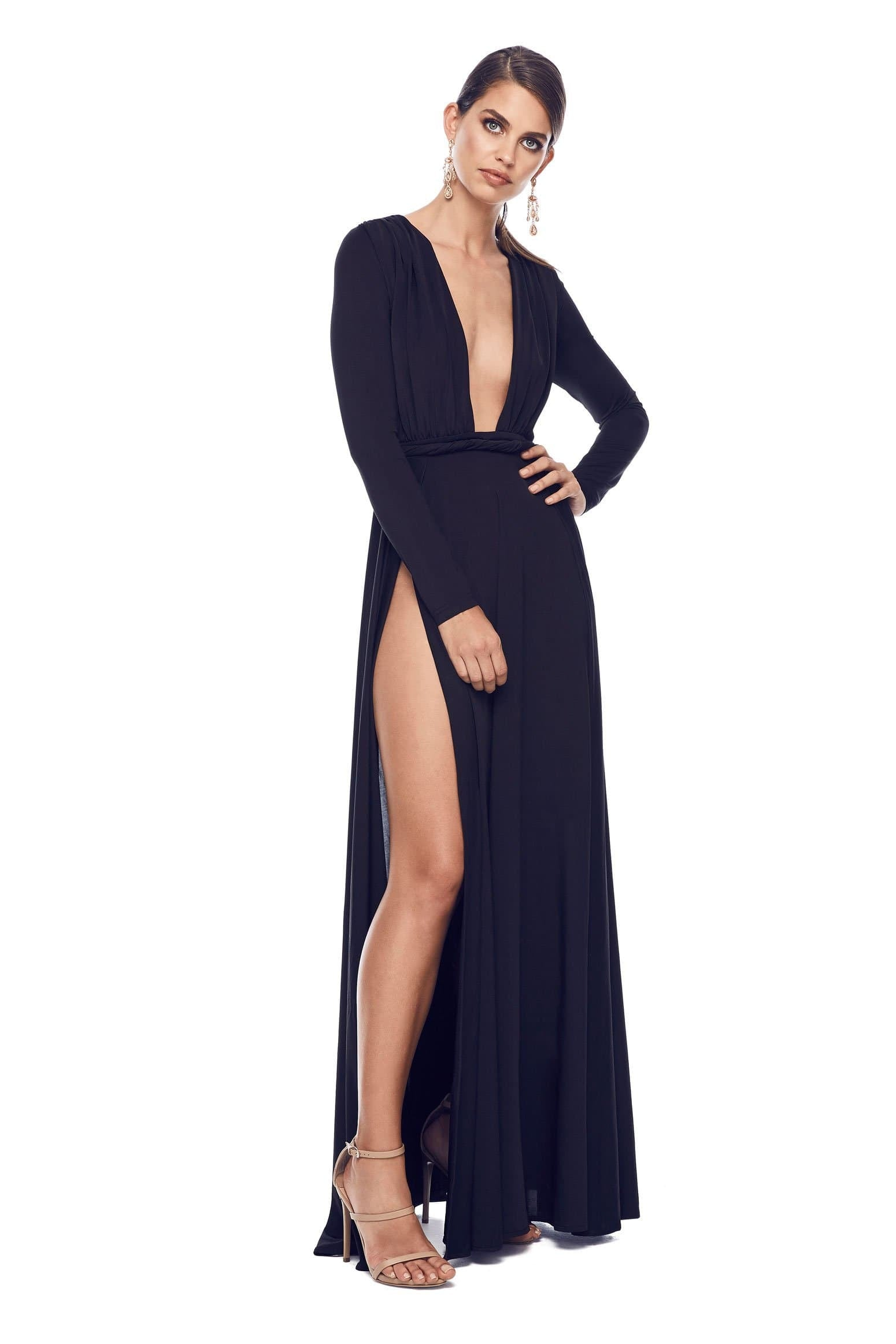 598e846778 Sahara - Black Long Sleeve Jersey Gown with Deep Plunge Neckline