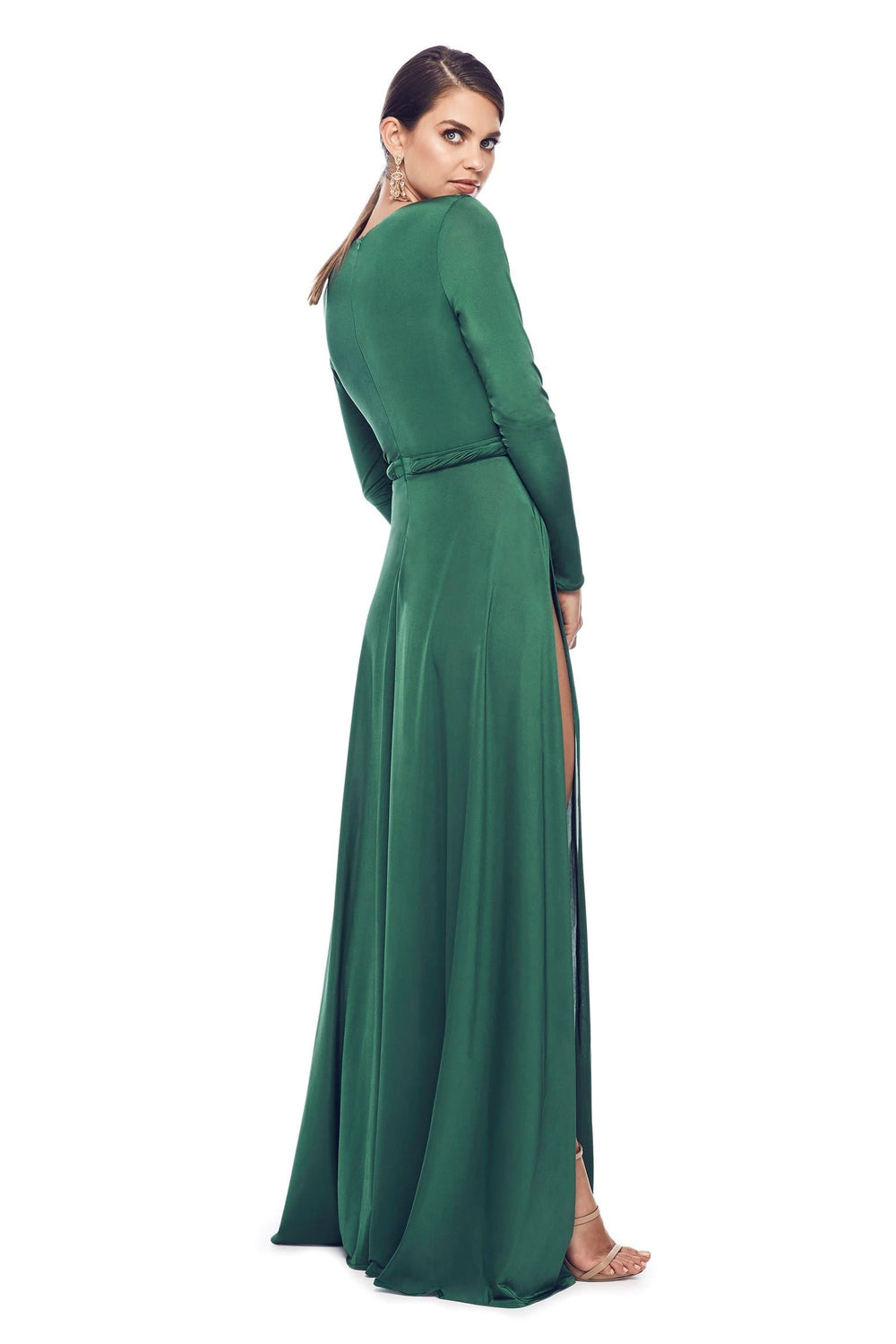 ca5b566a01dd0 Sahara - Emerald Jersey Long Sleeve Gown with Deep Plunge Neckline