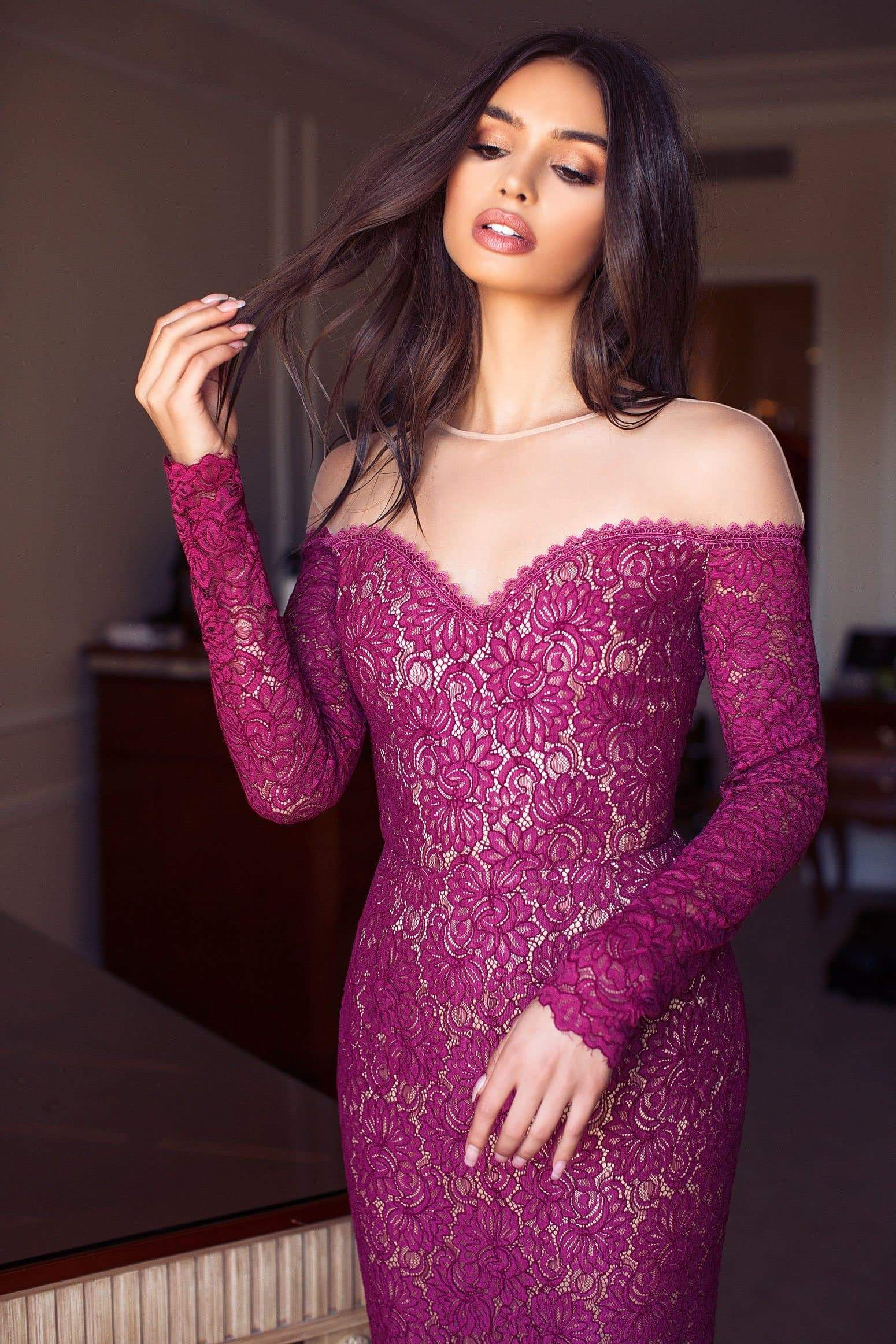 Margarita Lace Gown -  Burgundy Preorder End of May
