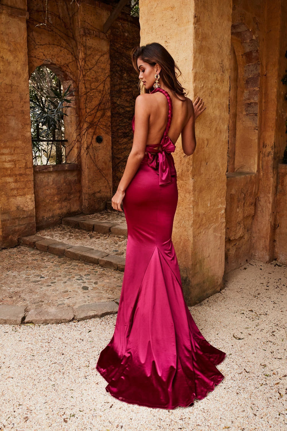 Lena - Plum Satin Multiway Gown with Mermaid Train & Plunge Neckline