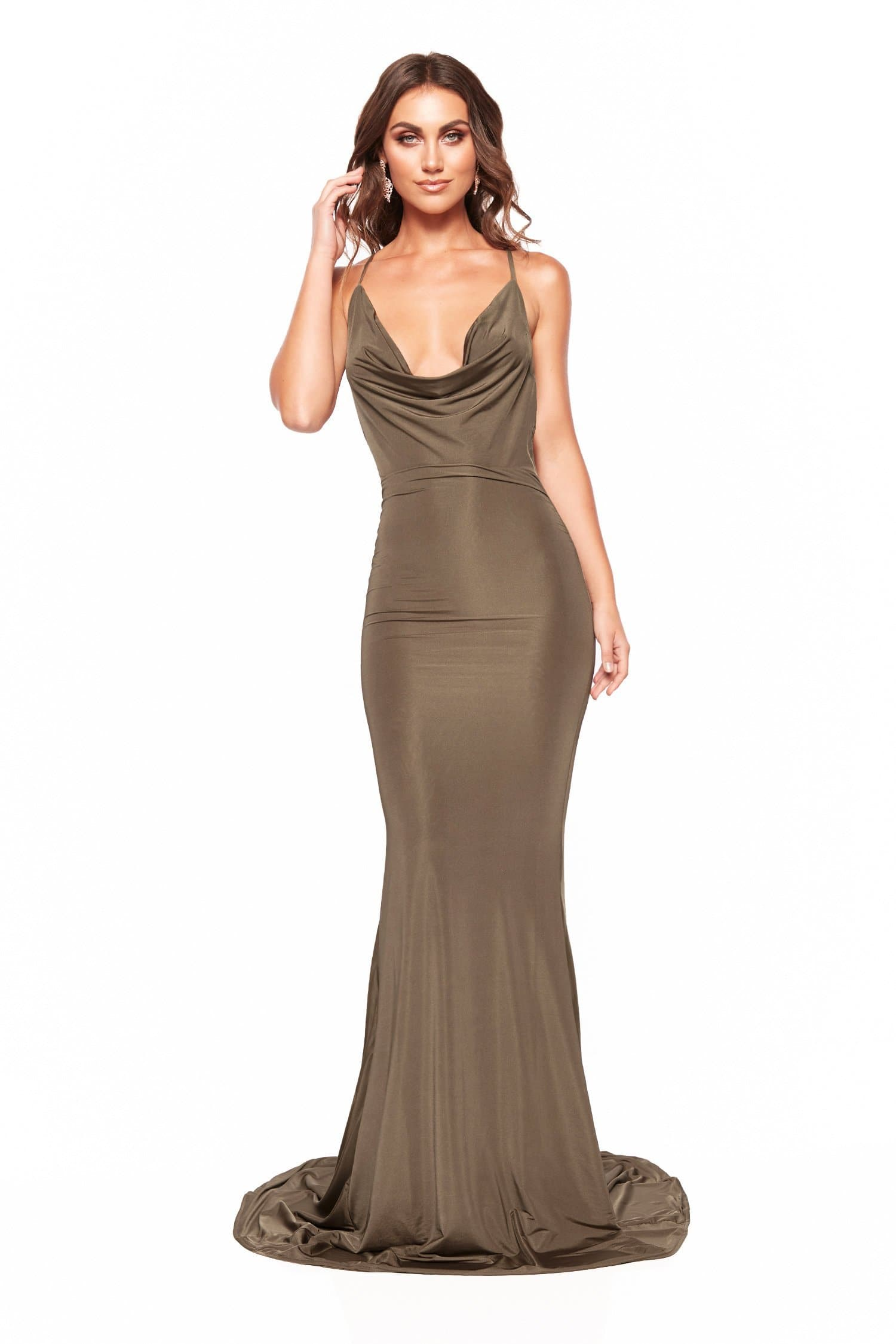 Antonia - Olive Jersey Gown with Cowl Neckline & Mermaid Train