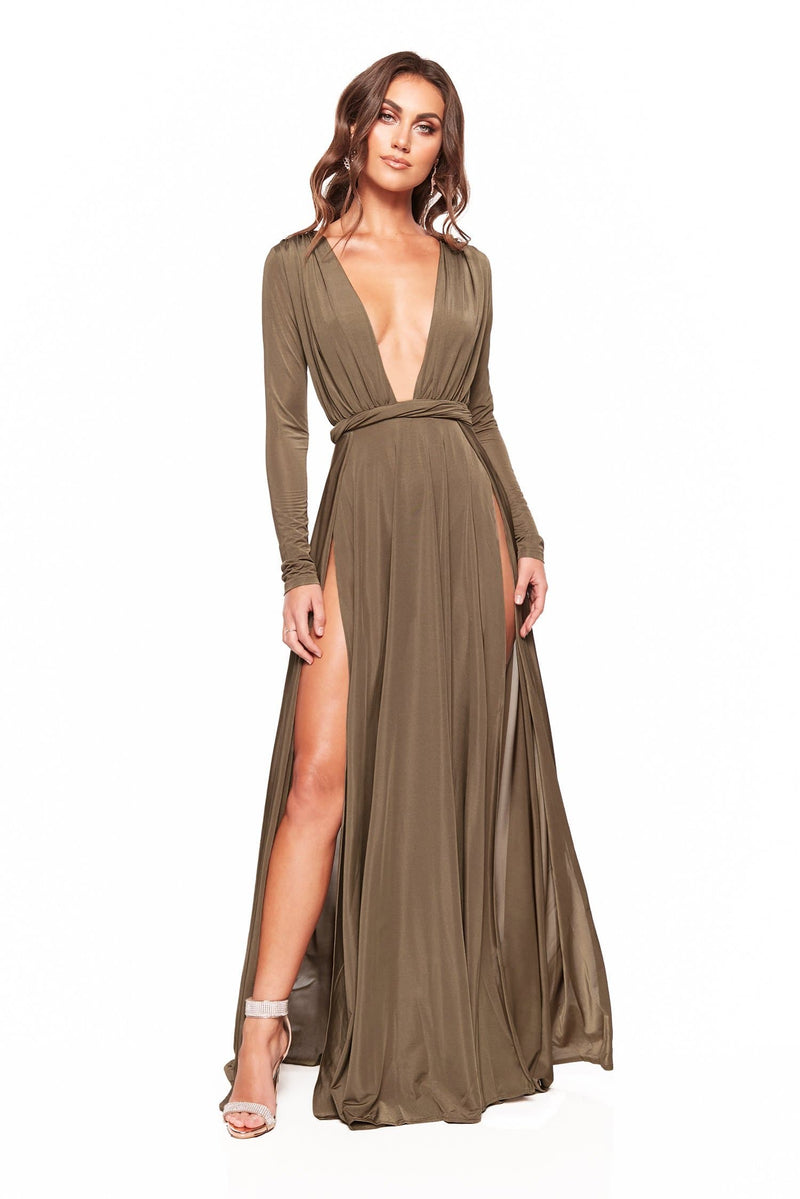 Sahara - Olive Long Sleeved Gown with Thigh-High Slits & Plunge Neck