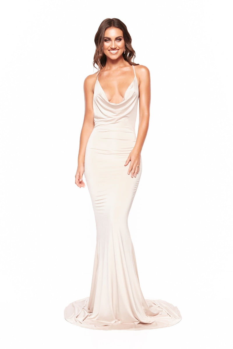 Antonia - Oyster Jersey Gown with Cowl Neckline & Low Back