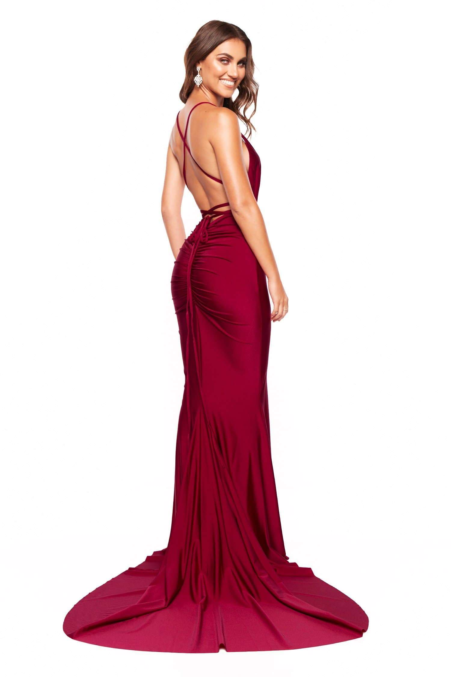Tierra - Plum Satin Plunge Halterneck Lace-Up Gown with Ruching