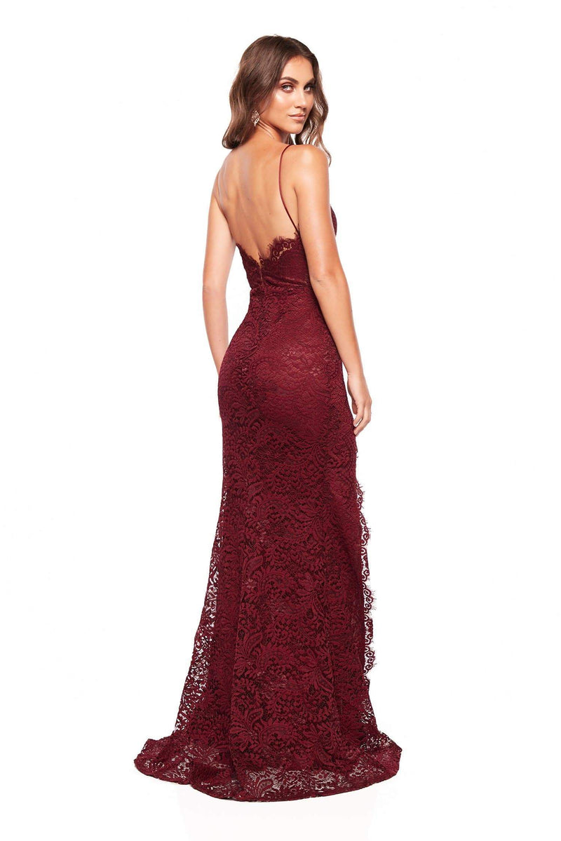 Layali - Sleeveless Plum Lace Gown with Side Split, V Neck & Open Back