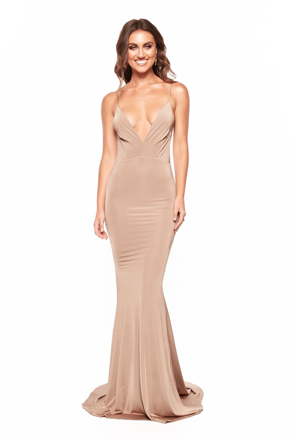 Selina - Bronze Plunge V-Neck Gown with Mermaid Silhouette & Low Back