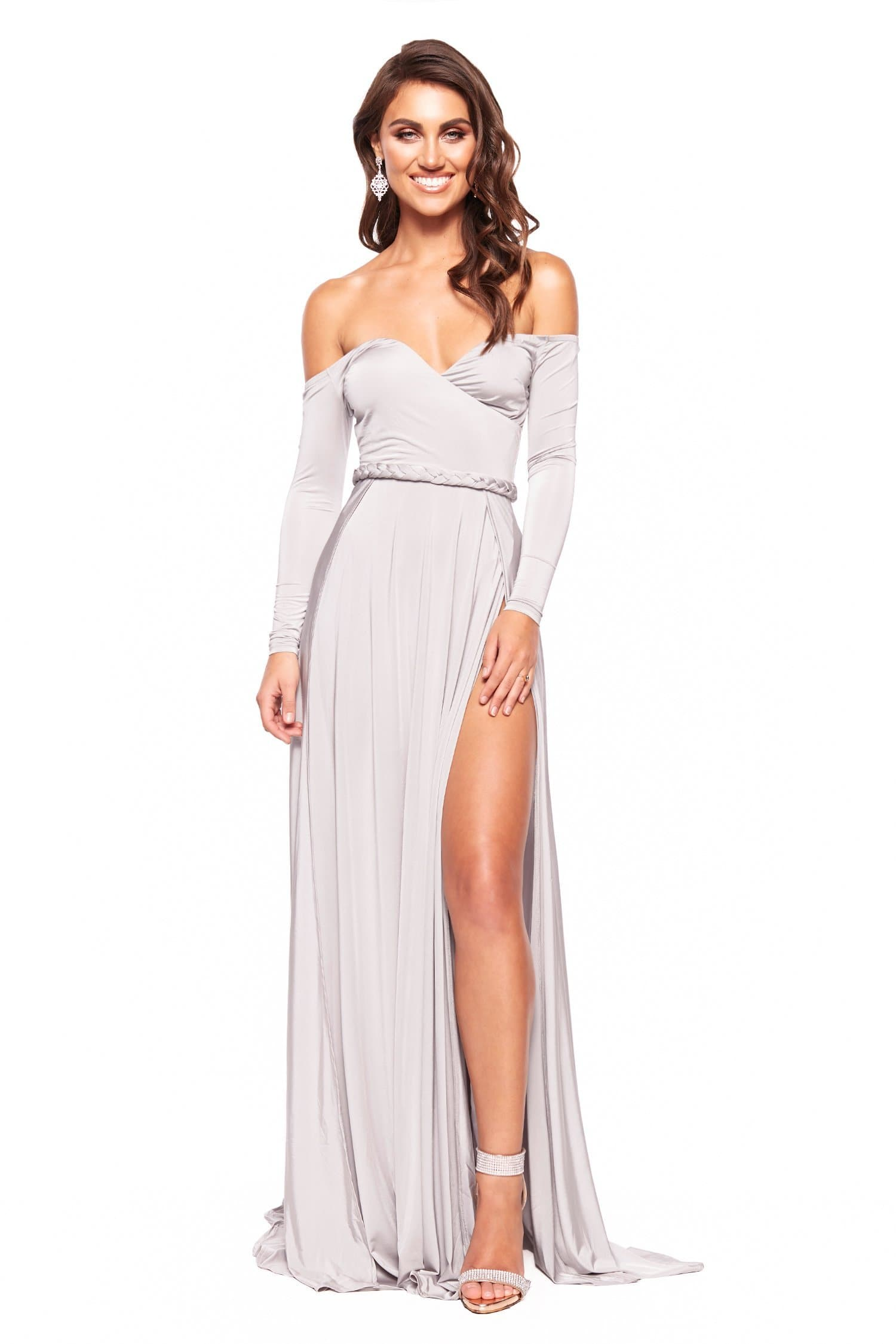 bd516397458f Parnella - Grey Off-Shoulder Long Sleeve Jersey Gown with Slit